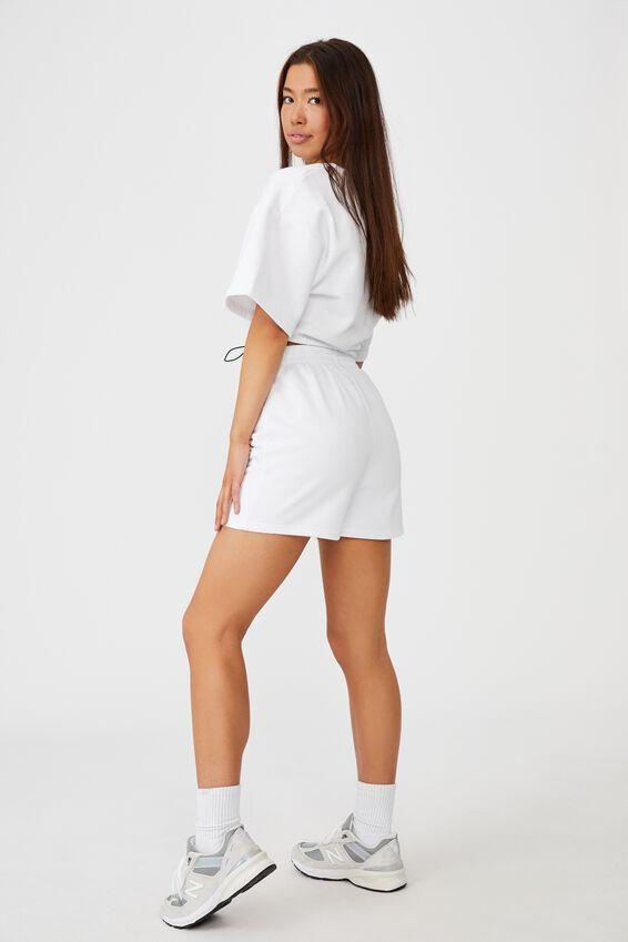 Toggle Hem Short Sleeve Fleece, WHITE/ELITE
