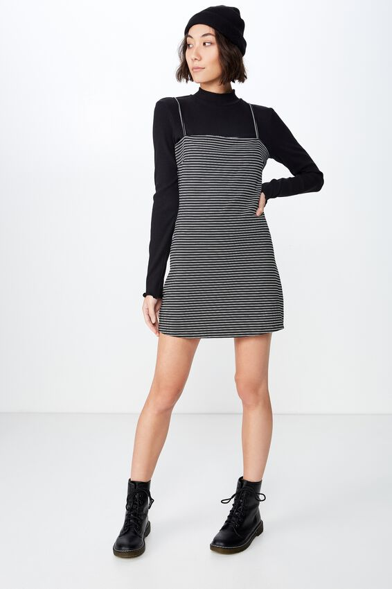 Stripe Ponte Dress, HUXLEY STRIPE_BLACK