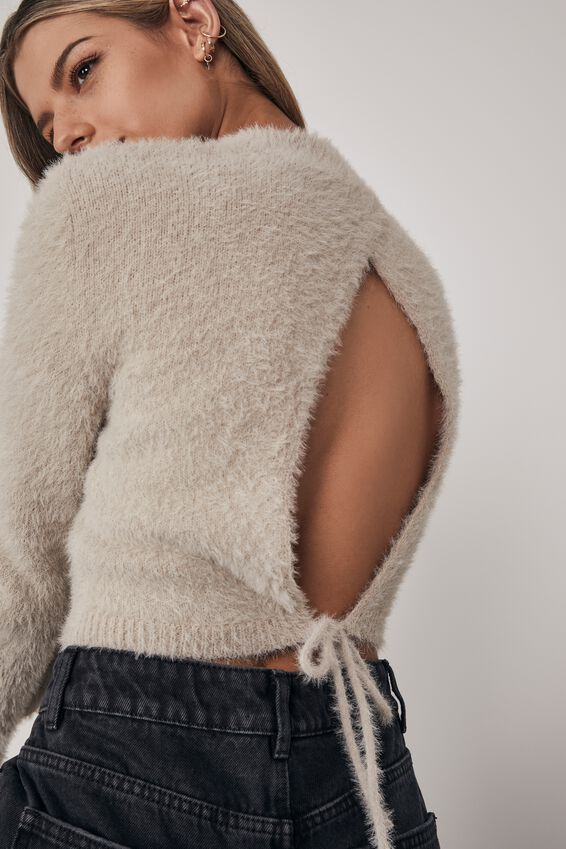Fluffy Knit Tie Back Top, PUMICE STONE