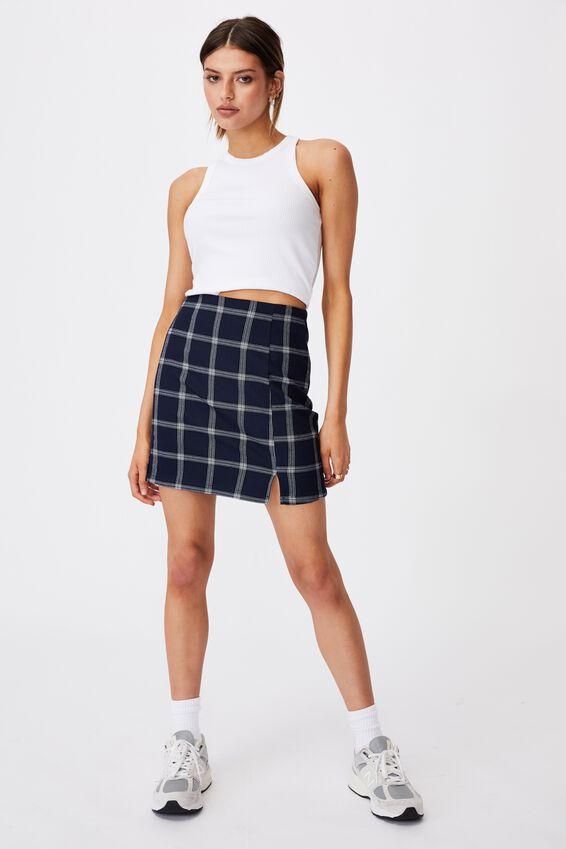Double Split Mini Skirt, CHER CHECK NAVY