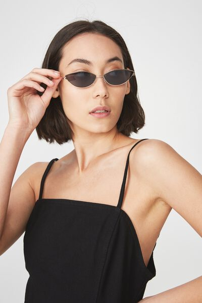 Mini Metal Cateye Sunglasses, BLACK