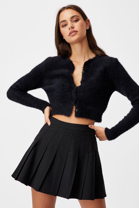 Fluffy Knit Slim Fit Cardi, BLACK