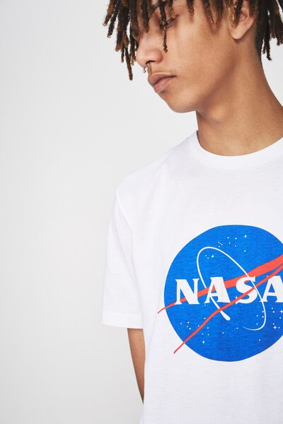 Licensed Print T Shirt, WHITE/NASA INSIGNIA