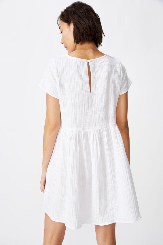 Short Sleeve Babydoll Dress, WHITE