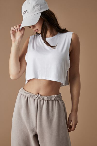 Cropped Muscle Tank, WHITE