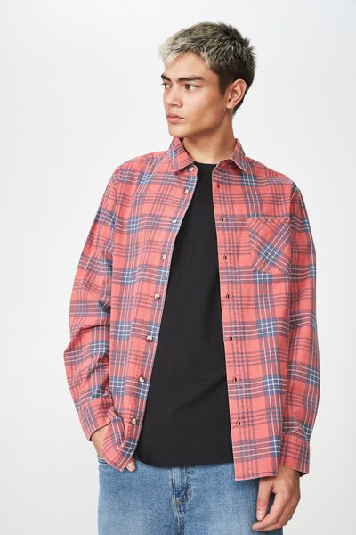 Long Sleeve Check Shirt, RED CHECK