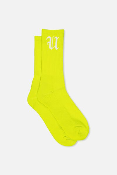 Retro Ribbed Socks, NEON YELLOW FU