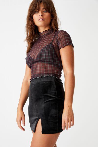 Velvet  Split Skirt, BLACK
