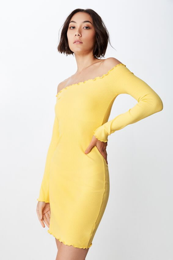 Rib Off Shoulder Dress, GOLDEN LEMON