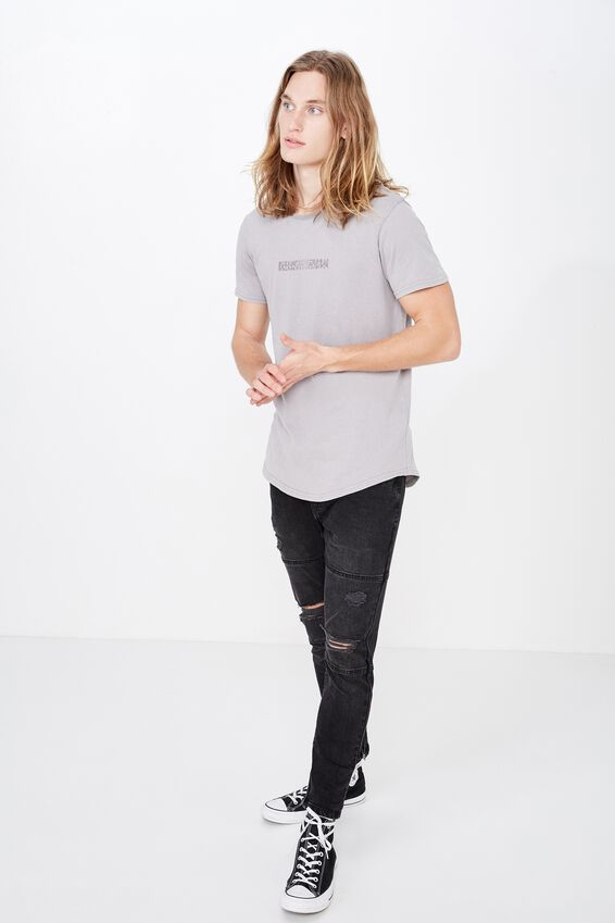 Curved Graphic T Shirt, WASHED STEEL/HEX