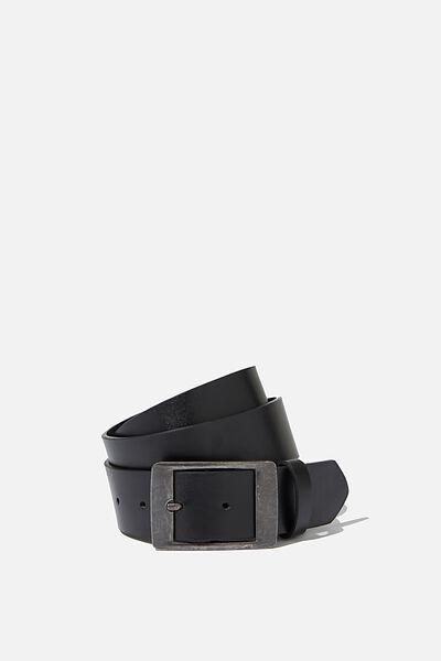 Guys Metal Buckle Belt, BLACK/SILVER