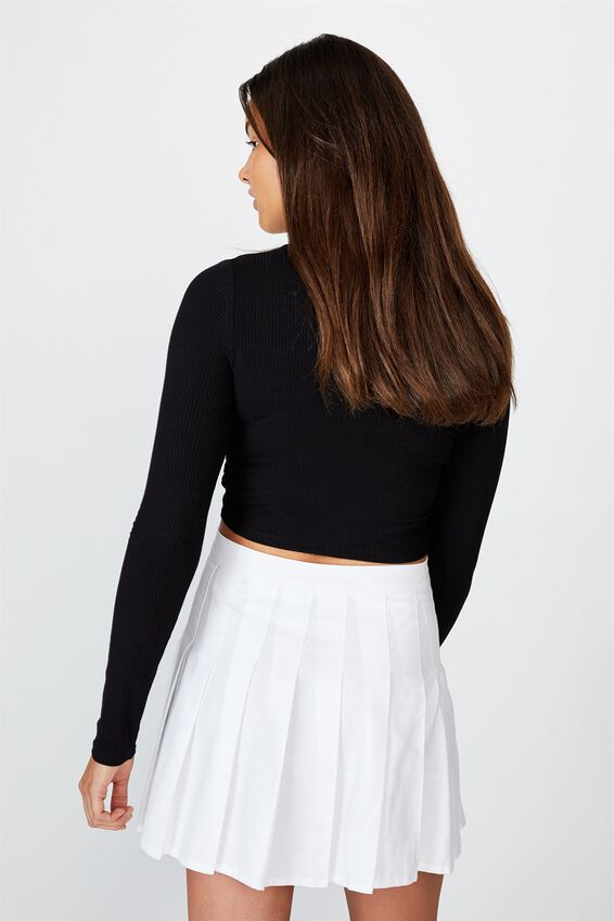 Long Sleeve Pull Front Top, BLACK