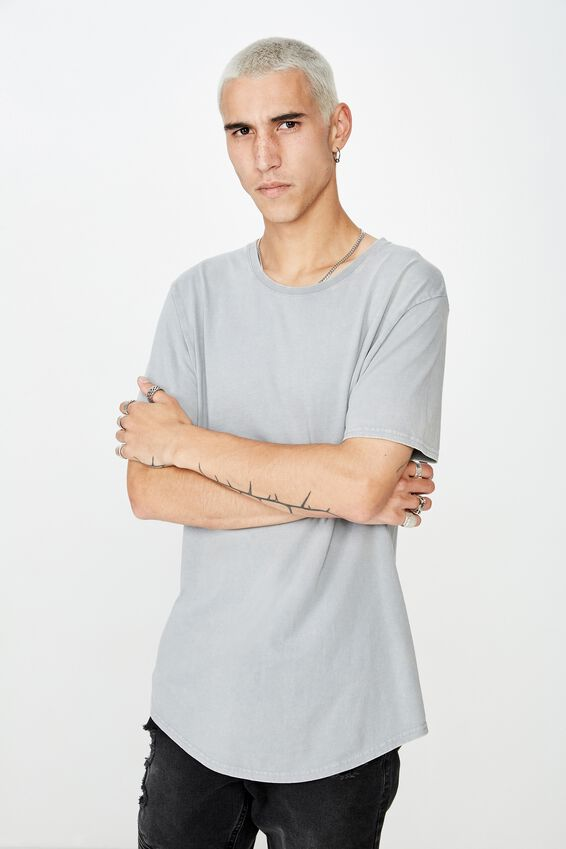 Washed Curved T Shirt, WASHED GREY