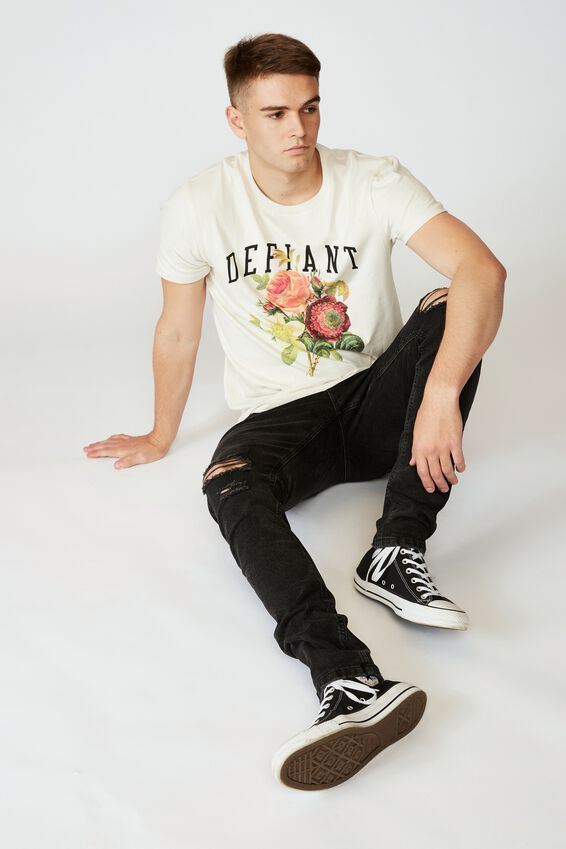 Slim Graphic T Shirt, IVORY/DEFIANT