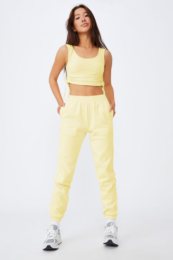 Ruched Side Seam Tank, TENDER YELLOW
