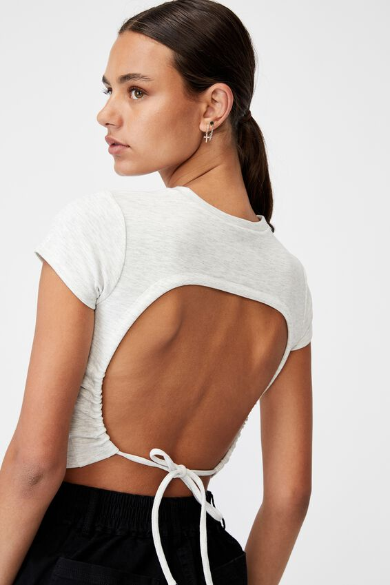 Ruched Short Sleeve Backless Top, SILVER MARLE