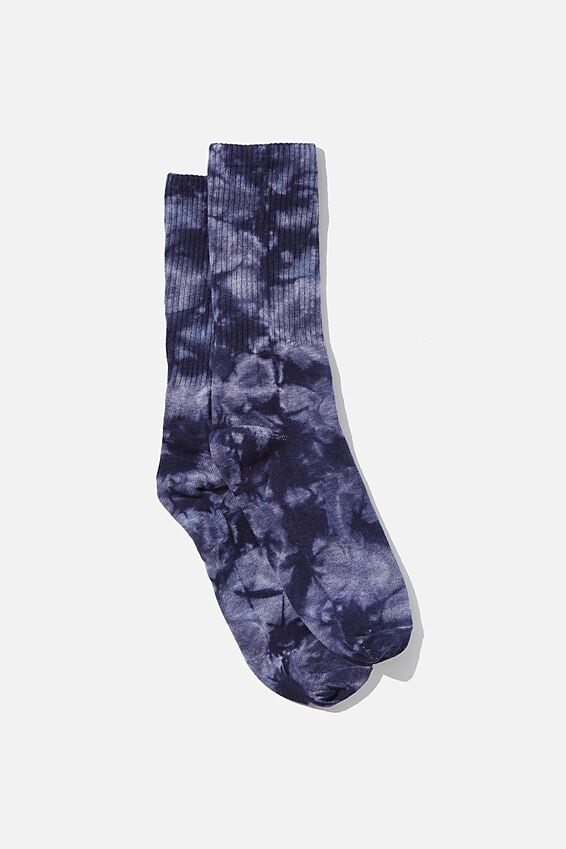 Retro Ribbed Socks, BLUE TONES TIE DYE
