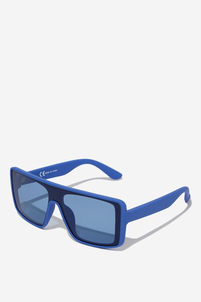 Flat Top Visor Sunglasses, RUB BLU_BLU