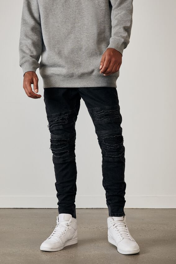 Semi Cuffed Denim Jean, WASHED BLACK DIST