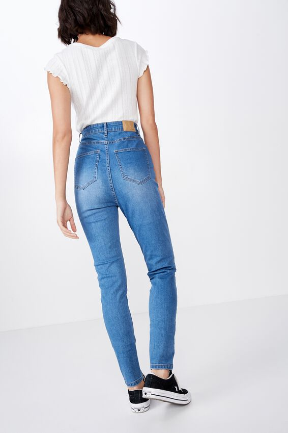 The Skinny Super High Waisted Jean, 90's BLUE