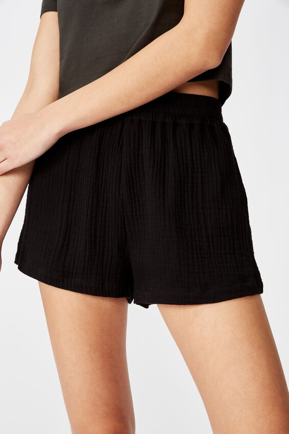 Cheesecloth Short, BLACK