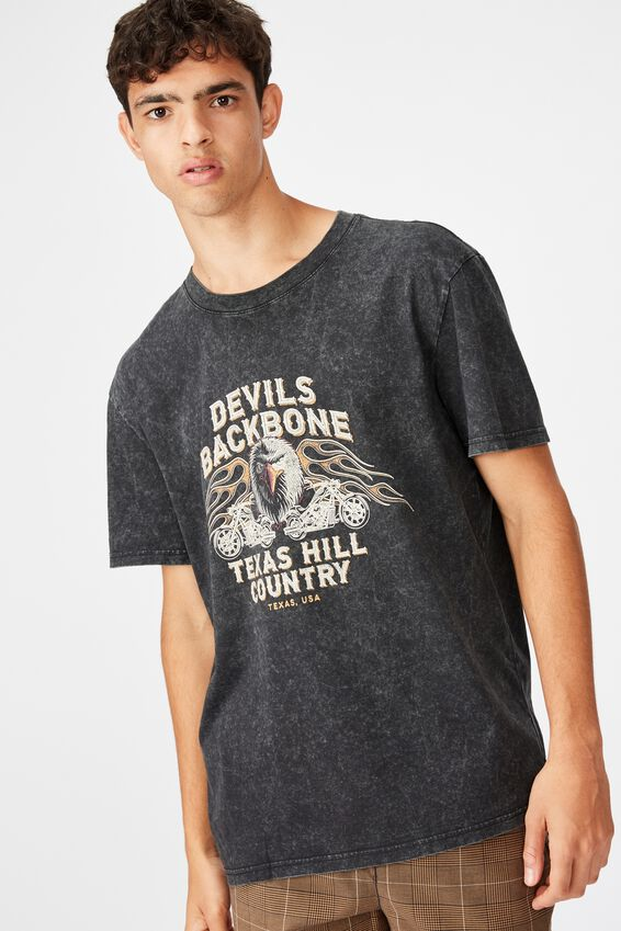 Regular Graphic T Shirt, WASHED BLACK/DEVILS BACKBONE