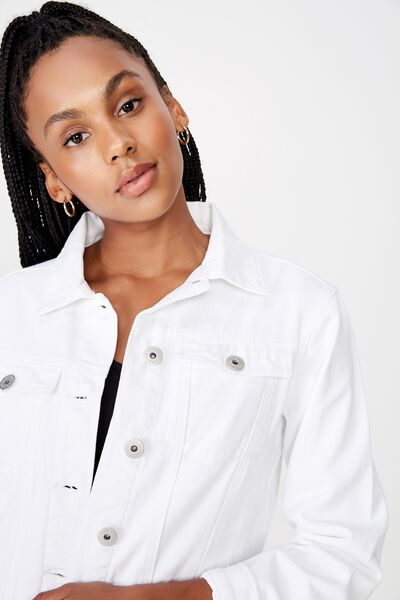 Classic Denim Jacket, WHITE
