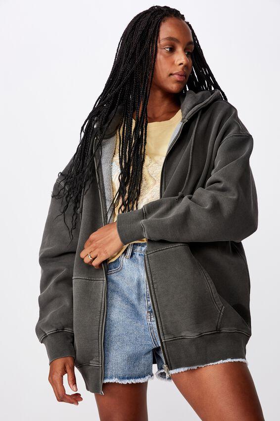 Oversized Heavy Washed Fleece Jacket, WASHED BLACK