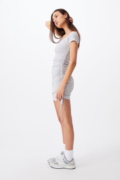 Short Sleeve Ruched Side Seam Dress, GREY MARLE