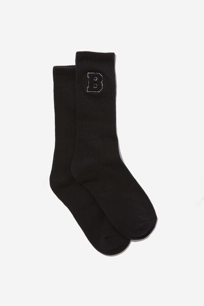 Retro Ribbed Socks, BROOKLYN BLACK