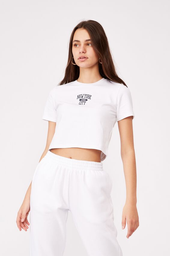 Fitted Graphic T Shirt, WHITE NEW YORK CITY