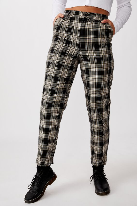 Tapered Leg Check Pant, BLAKE CHECK BLK NEUTRAL