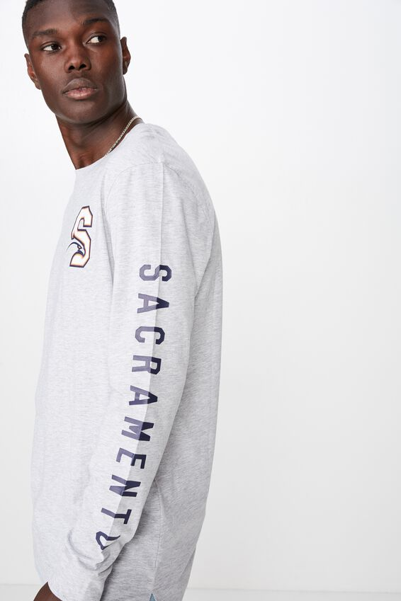 Slim Long Sleeve Drop Hem T Shirt, LIGHT GREY MARLE/SEAHAWK