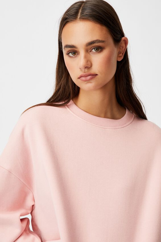 Oversized Crew Neck Sweater, SILVER PINK