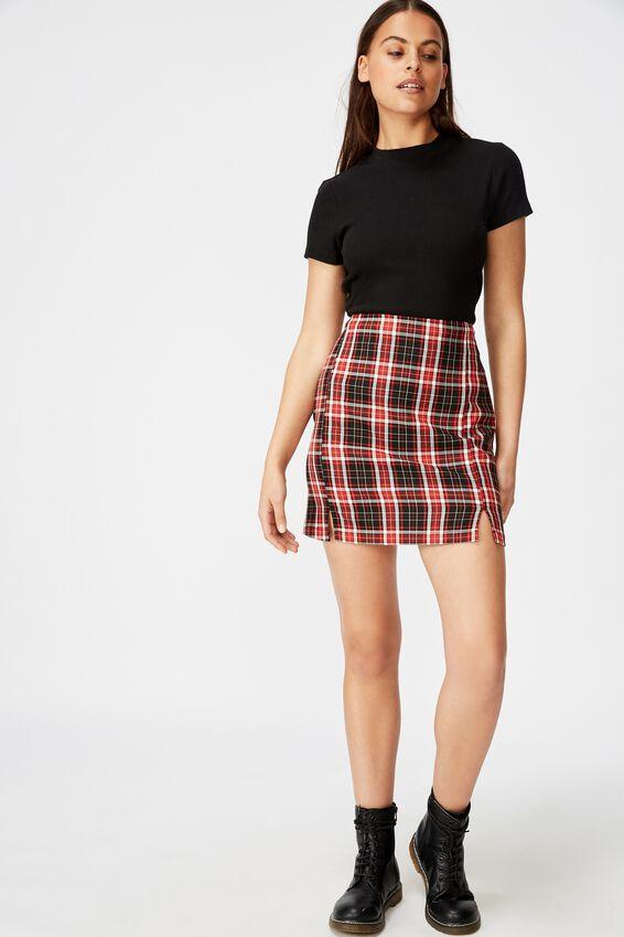 Double Split Mini Skirt, KALI RED CHECK