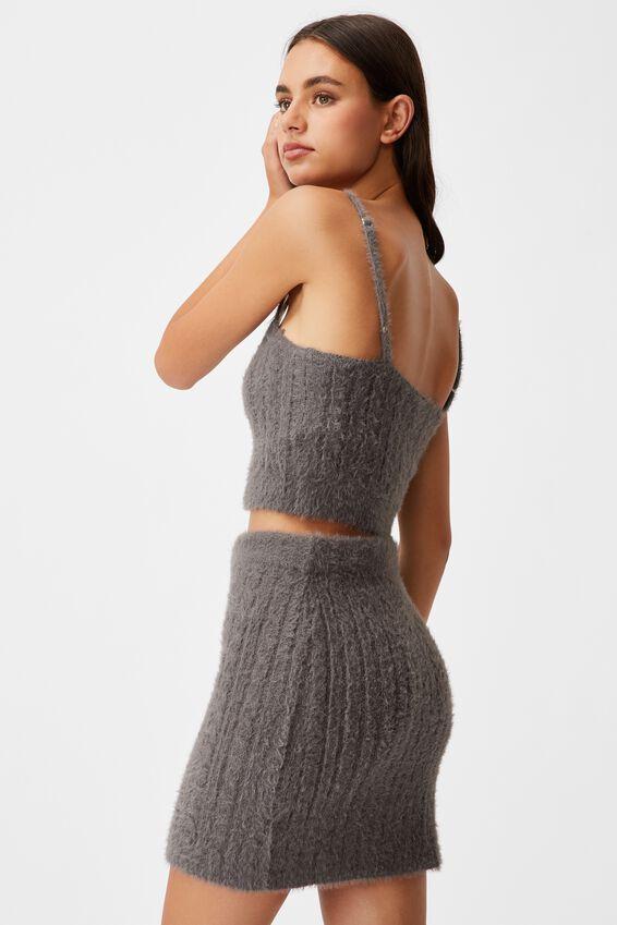 Fluffy Knit Cable Mini Skirt, PLUM KITTEN
