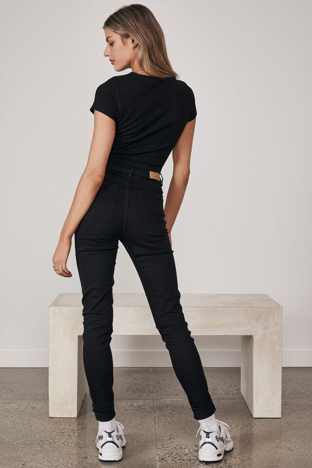 Short Sleeve Ruched V Neck Top, BLACK