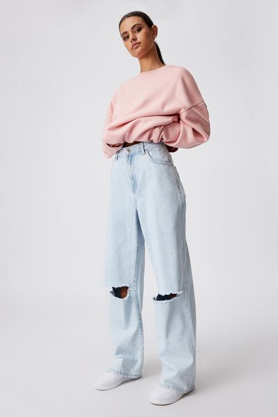 High Rise Baggy Jean, SEA BLUE - RIPPED