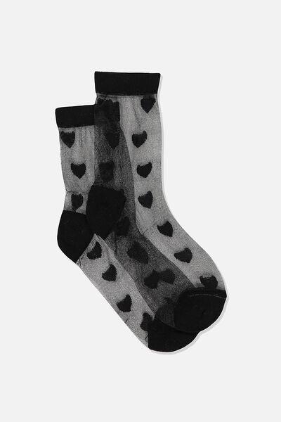 Jacquard Mesh Sock, BLACK MESH/HEARTS