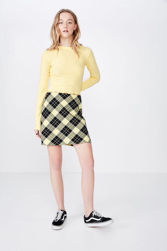 A Line Check Skirt, DREAM POPCORN CHECK