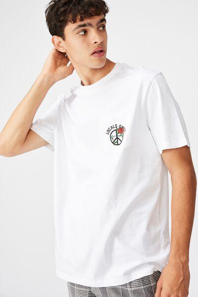 Regular Graphic Pocket T Shirt, WHITE/LOCALS ROSES