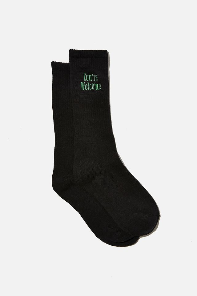 Retro Ribbed Socks, BLACK/YOU RE WELCOME