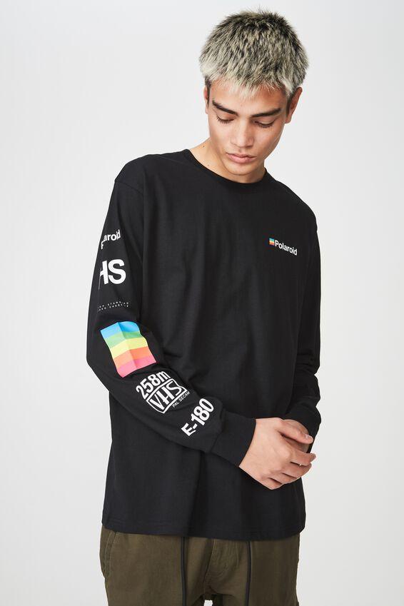 Polaroid Lcn Long Sleeve T Shirt, BLACK/POLAROID DISSECT