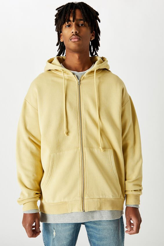 Washed Zip Through Hoodie, WASHED TEMPURA