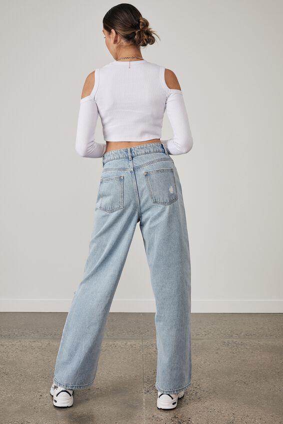 Cold Shoulder Long Sleeve Top, WHITE/LMTD 3.0