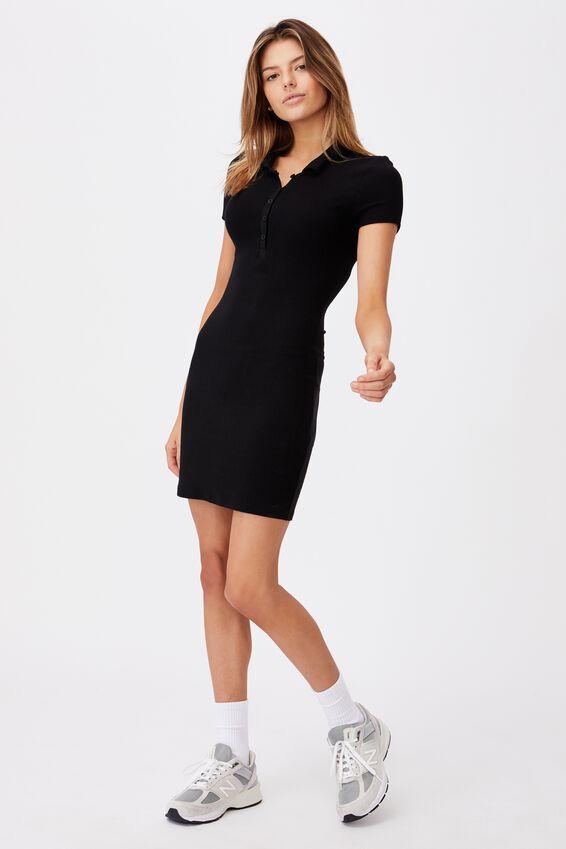 Short Sleeve Collared Rib Dress, BLACK