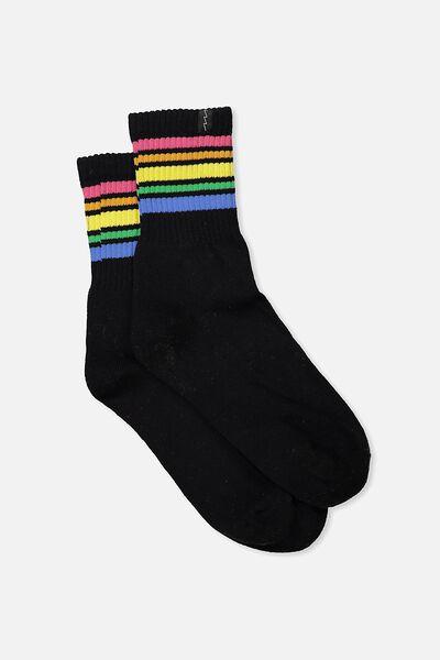 Retro Sport Sock, BLACK MULTI STRIPE
