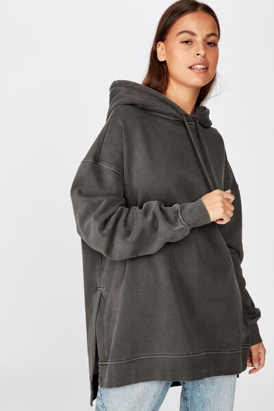 Oversized Split Hem Hoodie, WASHED BLACK