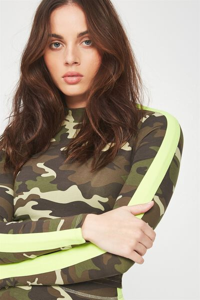 Co-Ord Cropped Funnel Neck Long Sleeve, CAMO