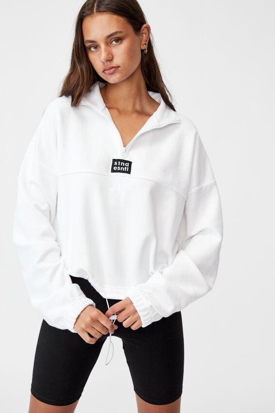 Reverse Fleece Quarter Zip Funnel Neck, WHITE/STND ESNTL